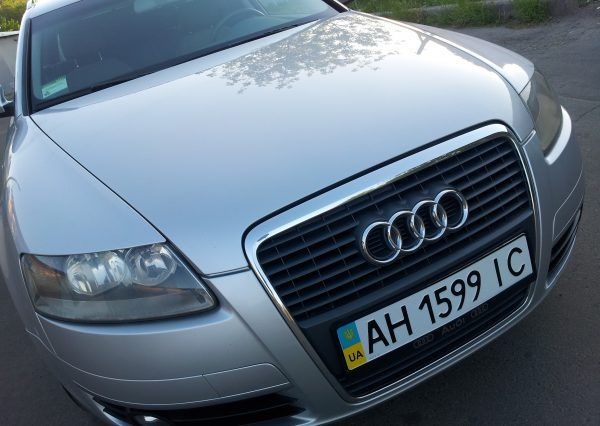Машина, Audi A6, эмблема, фары